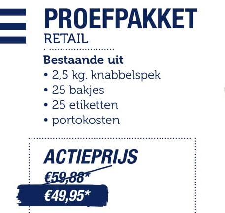 Proefpakket Retail bestaat uit het volgende
